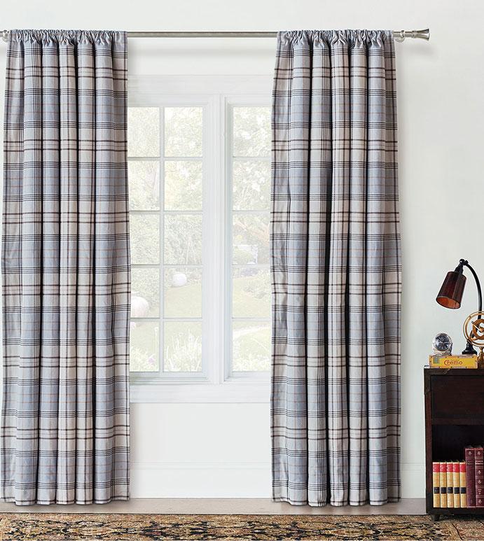 Magnus Steel Curtain Panel - PLAID CURTAIN,BLUE PLAID CURTAIN,ROD POCKET DRAPERY,ROD POCKET PANEL,BLUE AND GREY,FLANNEL,BLUE PLAID CURTAIN,DECORATIVE ROD POCKET PANEL,TRADITIONAL,CLASSIC,LIGHT BLUE PLAID