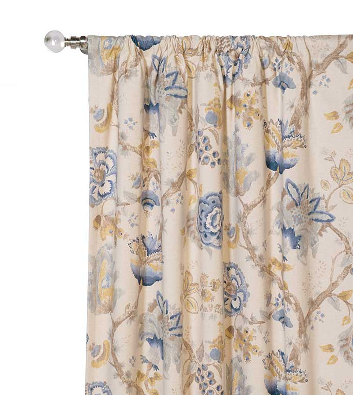 Emory Curtain Panel - FLORAL PRINT CURTAIN,BLUE FLORAL CURTAIN,BLUE FLOWERS,BLUE AND GOLD,BLUE AND YELLOW,BLUE AND TAN,ASIAN STYLE FLORAL,EAST ASIAN DESIGN,FLORAL ROD POCKET CURTAIN,BOTANICAL ROD POCKET