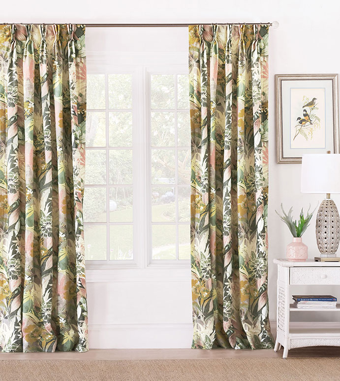Felicity Floral Curtain Panel - ,PINCH PLEAT CURTAINS,PINCH PLEAT DRAPERY,FLORAL CURTAINS,BOTANICAL PRINT CURTAIN,PINK CURTAINS,FLORAL PRINT DRAPES,DARK FLORAL CURTAINS,BOHO CURTAINS,LUXURY CURTAINS,FLORAL PRINT,