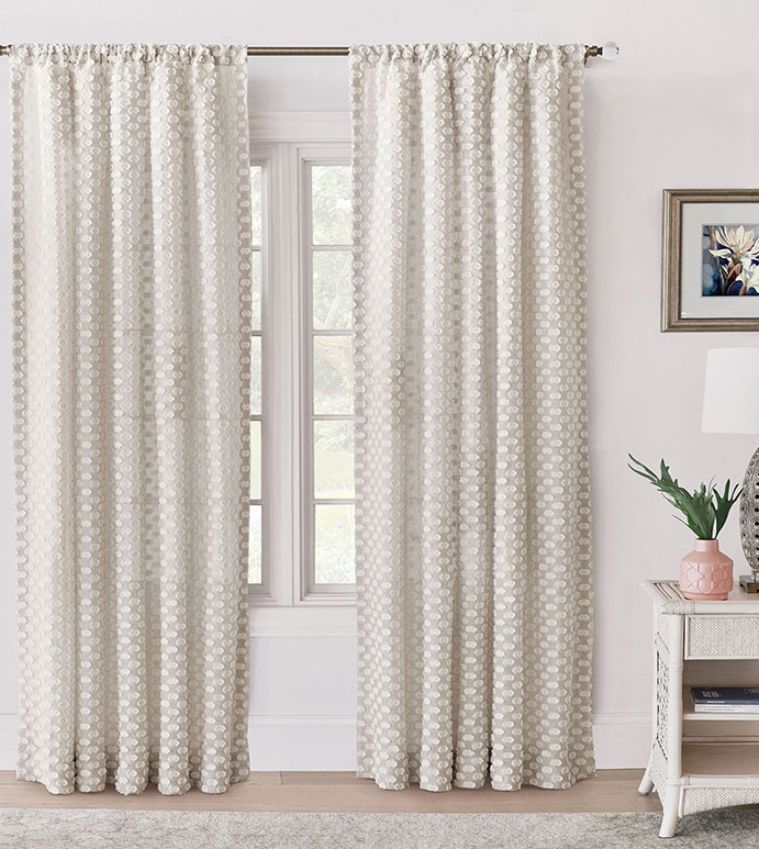 Felicity Fil Coupe Curtain Panel - ,EMBROIDERED CURTAINS,EMBROIDERED CURTAIN PANEL,NEUTRAL CURTAIN PANEL,FIL COUPE EMBROIDERY,POLKA DOT EMBROIDERY,POLKA DOT CURTAINS,NEUTRAL CURTAINS,UNLINED CURTAIN,