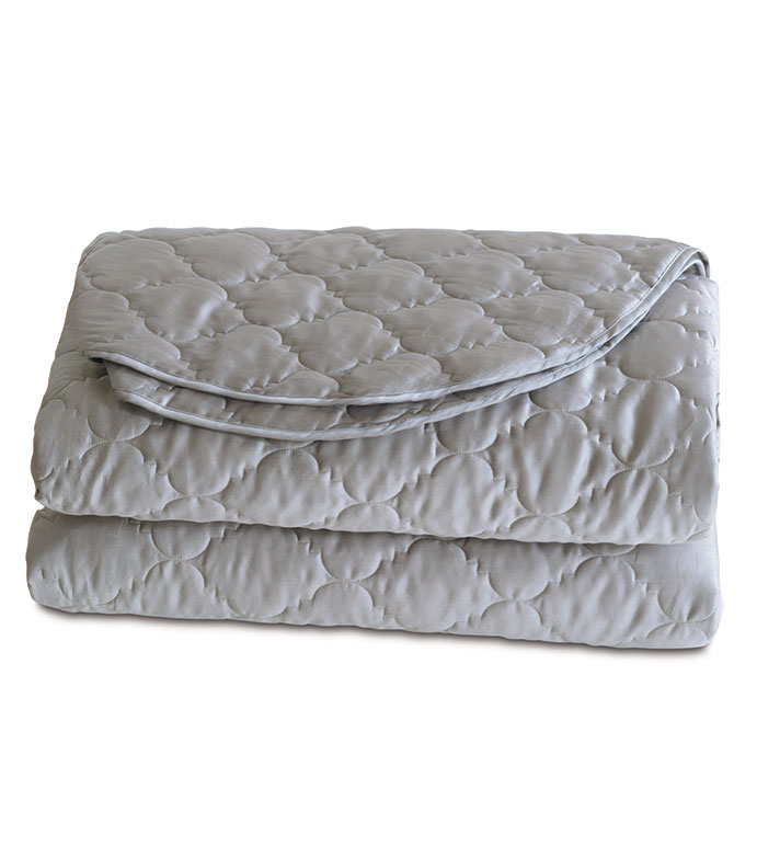 Viola Quilted Coverlet in Dove - ,COTTON SATEEN COVERLET,QUILTED COVERLET,QUILTED COTTON COVERLET,SATEEN BEDDING,QUILTED BEDDING,IVORY COVERLET,WASHABLE COVERLET,WASHABLE QUILTED COVERLET,