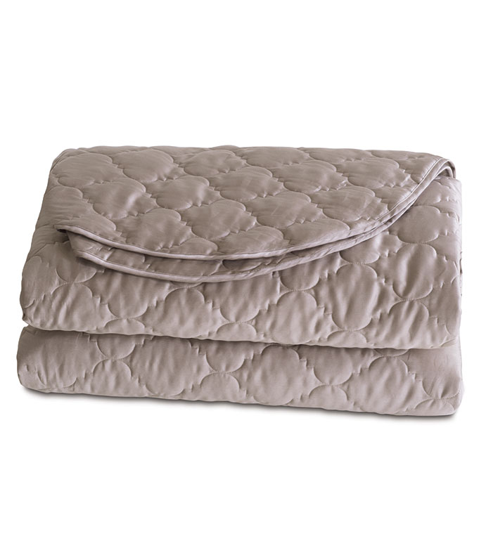 Viola Quilted Coverlet in Fawn - ,COTTON SATEEN COVERLET,QUILTED COVERLET,QUILTED COTTON COVERLET,SATEEN BEDDING,QUILTED BEDDING,IVORY COVERLET,WASHABLE COVERLET,WASHABLE QUILTED COVERLET,
