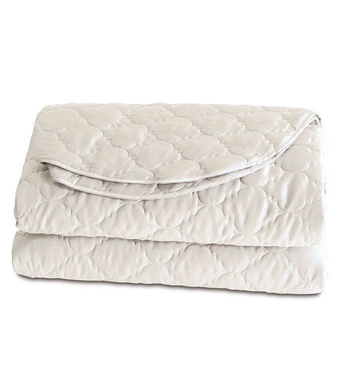 Viola Quilted Coverlet in Ivory - ,COTTON SATEEN COVERLET,QUILTED COVERLET,QUILTED COTTON COVERLET,SATEEN BEDDING,QUILTED BEDDING,IVORY COVERLET,WASHABLE COVERLET,WASHABLE QUILTED COVERLET,
