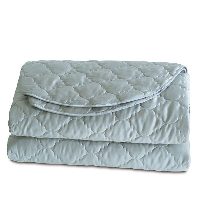 Viola Quilted Coverlet in Sea - ,COTTON SATEEN COVERLET,QUILTED COVERLET,QUILTED COTTON COVERLET,SATEEN BEDDING,QUILTED BEDDING,IVORY COVERLET,WASHABLE COVERLET,WASHABLE QUILTED COVERLET,