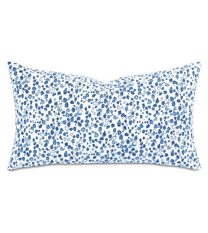 Majorca Speckled Decorative Pillow - ,SPECKLED PRINT PILLOW,SPOTTED PRINT PILLOW,SPECKLED PRINT,BLUE TROPICAL PILLOW,BLUE COTTON PILLOW,SPECKLED PRINT BOLSTER,TROPICAL THROW PILLOW,BLUE TROPICAL PILLOW,
