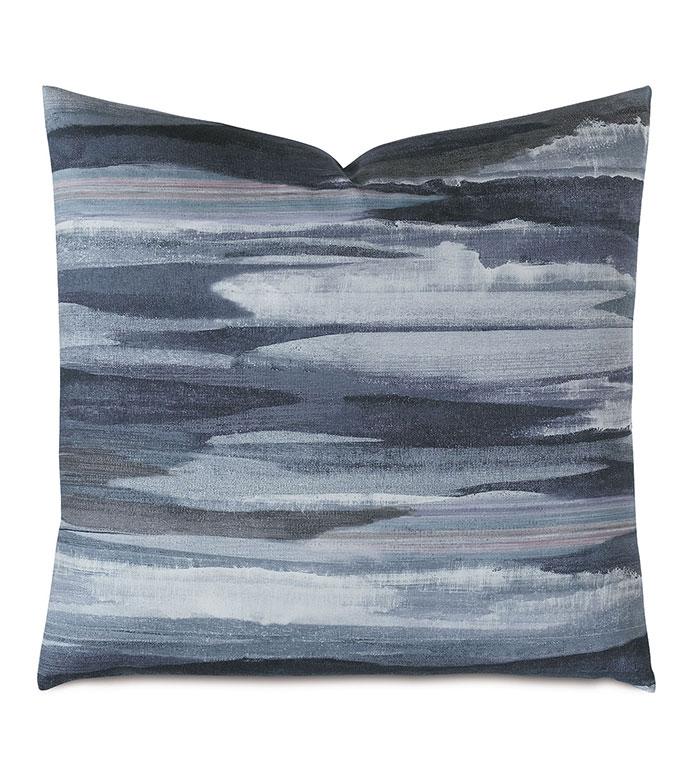 Lyra Watercolor Decorative Pillow - ,WATERCOLOR PRINT,WATERCOLOR PRINT PILLOW,BRUSH STROKE PRINT,WATERCOLOR DESIGN,PRINTED SATEEN,SATEEN PILLOW,BLUE DECORATIVE PILLOW,PASTEL PILLOW,PASTEL BEDDING,