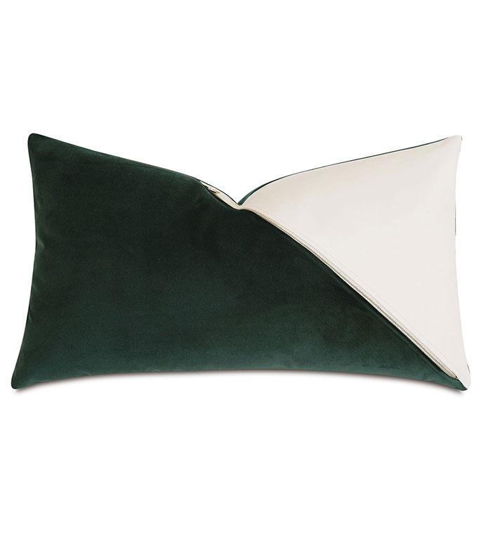 Izaro Zipper Detail Decorative Pillow (Right) - ,RECTANGLE PILLOW,VELVET PILLOW,100% LEATHER,COLORBLOCK PILLOW,DECORATIVE PILLOW,LUXURY THROW PILLOW,LEATHER THROW PILLOW,GREEN VELVET,GREEN PILLOW,ZIPPER DETAIL,LUXURY DECOR,GLAM,