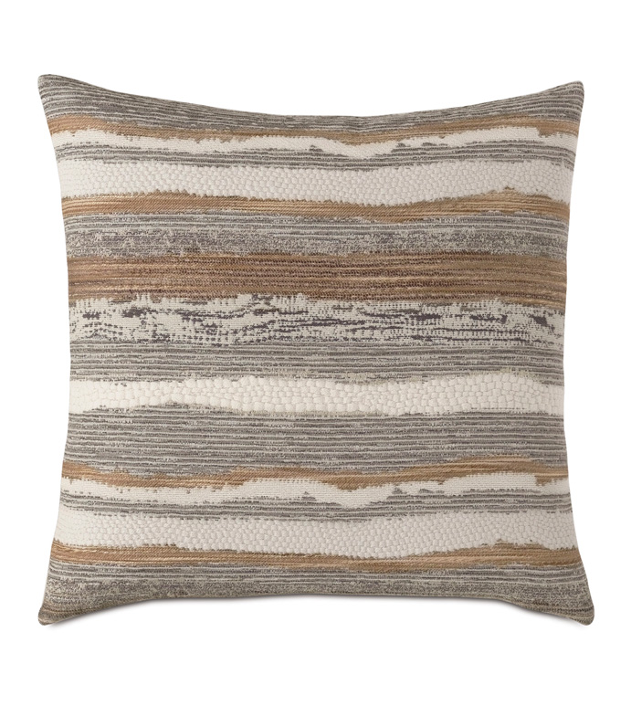 Teryn Textured Decorative Pillow - DECORATIVE PILLOW,ACCENT PILLOW,THROW PILLOW,TEXTURED,WOVEN,CHUNKY,COZY,HYGGE,METALLIC,EARTH TONES,STRIPED,LINEAR,LUXURY BEDDING,EASTERN ACCENTS,SQUARE PILLOW,22X22,BOHO,ECLECTIC,