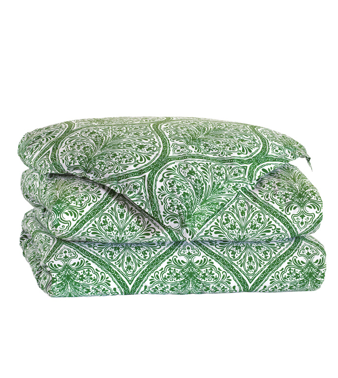 Adelle Percale Duvet Cover In Grass - DUVET COVER,COMFORTER,BLANKET,GREEN,BRIGHT,COLORFUL,OGEE,MEDALLION,DAMASK,JACQUARD,EASTERN ACCENTS,PATTERNED,PRINT,LUXURY BEDDING,FINE LINENS,PERCALE,ITALIAN FINE LINENS,