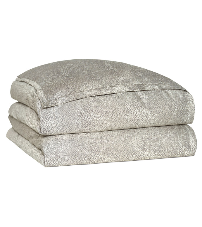 Ezra Smoke Duvet Cover - DUVET,NEUTRAL,GREY,BEDSET,SHINY,METALLIC,GLAM,OPULENT,GRAY,SILVER,PATTERNED,CONTEMPORARY,ANIMAL PRINT,MUTED,BEDDING,LUXURY BEDDING,HOME DECOR,SNAKESKIN,BUTTON CLOSURE,FLANGE,MITER
