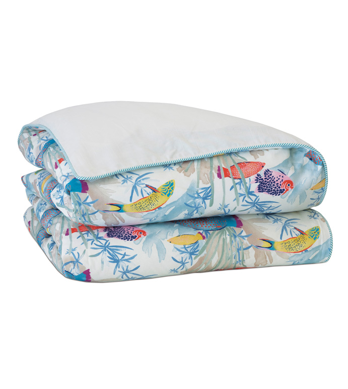 Paloma Tropical Duvet Cover - TROPICAL,LUXURY,BEDDING,DUVET COVER,COMFORTER,DUVET,BRIGHT,COLORFUL,PRIMARY,BLUE,PINK,FISH,CORAL REEF,PATTERN,PRINT,LUXURY BEDDING,QUALITY,HIGH-END,