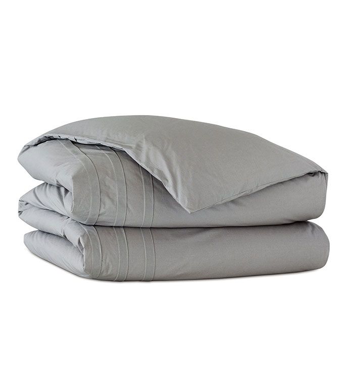 Vail Percale Duvet Cover In Heather - ,GRAY DUVET COVER,COTTON DUVET COVER,SOLID DUVET COVER,PERCALE DUVET COVER,COTTON PERCALE DUVET COVER,CUSTOM DUVET COVER,PERCALE BEDDING,LUXURY COTTON BEDDING,
