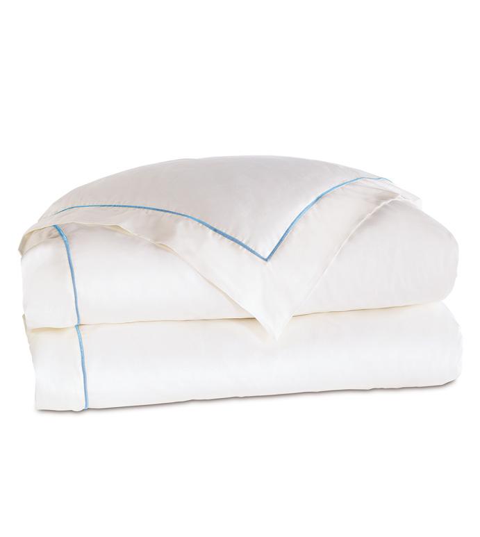 Linea Velvet Ribbon Duvet Cover In White & Azure - ,