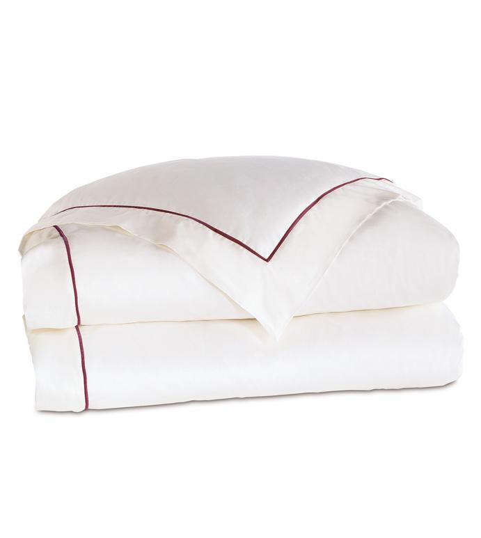 Linea Velvet Ribbon Duvet Cover In White & Shiraz - ,