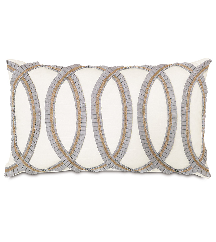 Baldwin White With Pleated Ribbon - WHITE RUFFLED PILLOW,GRAY RUFFLED PILLOW,PILLOW WITH RUFFLES,RUFFLED TRIM PILLOW,PLEATED TRIM PILLOW,GRAPHIC PILLOW,GRAY AND GOLD PILLOW,WHITE AND GOLD,TRANSITIONAL,TEXTURED,IVORY