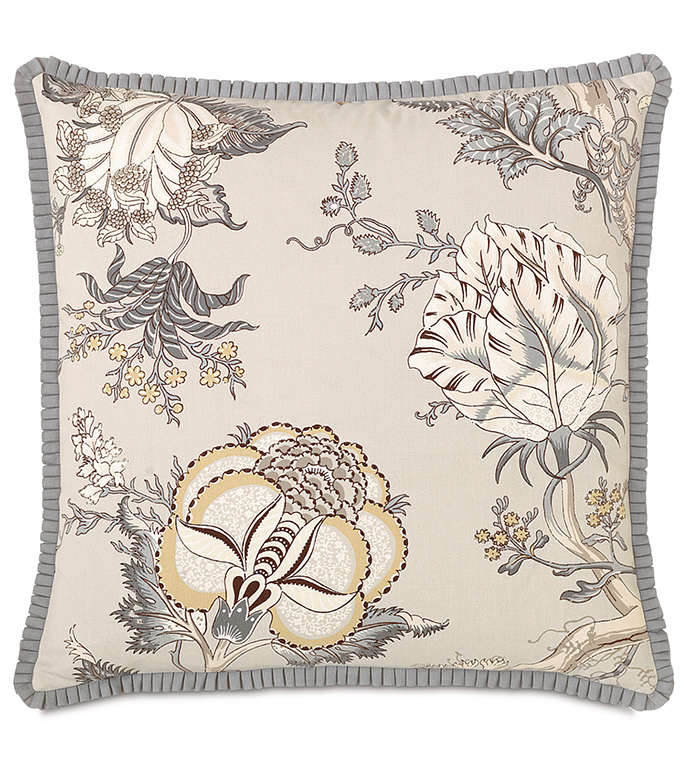 Edith With Pleated Ribbon - GRAY BOTANICAL PILLOW,LARGE BOTANICAL PILLOW,SQUARE FLORAL PILLOW,REVERSIBLE,ENGLISH GARDEN PILLOW,BOTANICAL PILLOW,ENGLISH COUNTRYSIDE PILOW,MUTED,PLEATED TRIM,RUFFLED TRIM,TAN