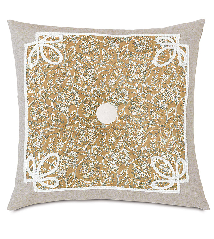 Fellows Amber Tufted - YELLOW FLORAL PILLOW,ORANGE FLORAL PILLOW,ENGLISH COUNTRYSIDE PILLOW,BOTANICAL PILLOW,SMALL FLORAL PILLOW,YELLOW AND WHITE,MUSTARD AND WHITE,TRIM APLLIQUE,BUTTON TUFTED,TUFTED