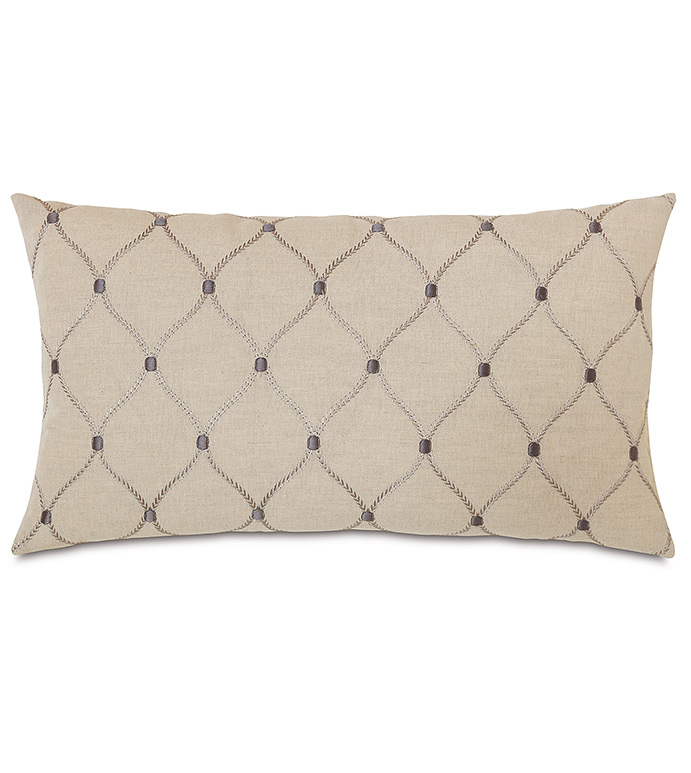 Branson Ivy Knife Edge - GRAY TRADITIONAL PILLOW,GRAY CLASSIC DECORATIVE PILLOW,GRAY EMBRIODERED PILLOW,OBLONG GRAY PILLOW,LATTICE DESIGN PILLOW,GRAY AND TAN PILLOW,TAUPE,TRADITIONAL,NEUTRAL,CLASSIC