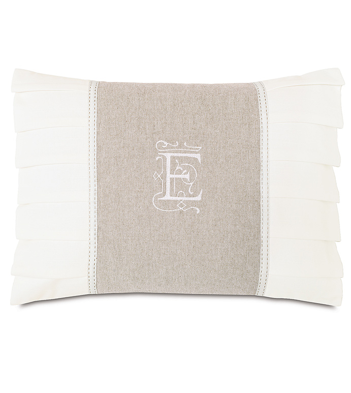 Greer Linen Insert With Monogram - TAN MONOGRAMMED PILLOW,MONOGRAMMED PILLOW,PERSONALIZED LETTER PILLOW,INITIALS PILLOW,WHITE AND TAN,TAN AND IVORY,STRIPED,TRANSITIONAL,EMBROIDERED PILLOW,PLEATED PILLOW,