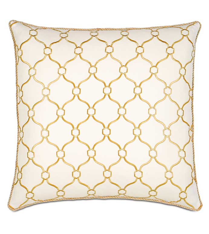 Theodore Honey With Cord - YELLOW AND WHITE PILLOW,EMBROIDERED YELLOW PILLOW,LATTICE DESIGN,CONTEMPORARY,TRANSITIONAL,YELLOW GEOMETRIC PILLOW,MUSTARD,GOLD,OVERSIZED YELLOW PILLOW,LARGE GOLD PILLOW,CORD