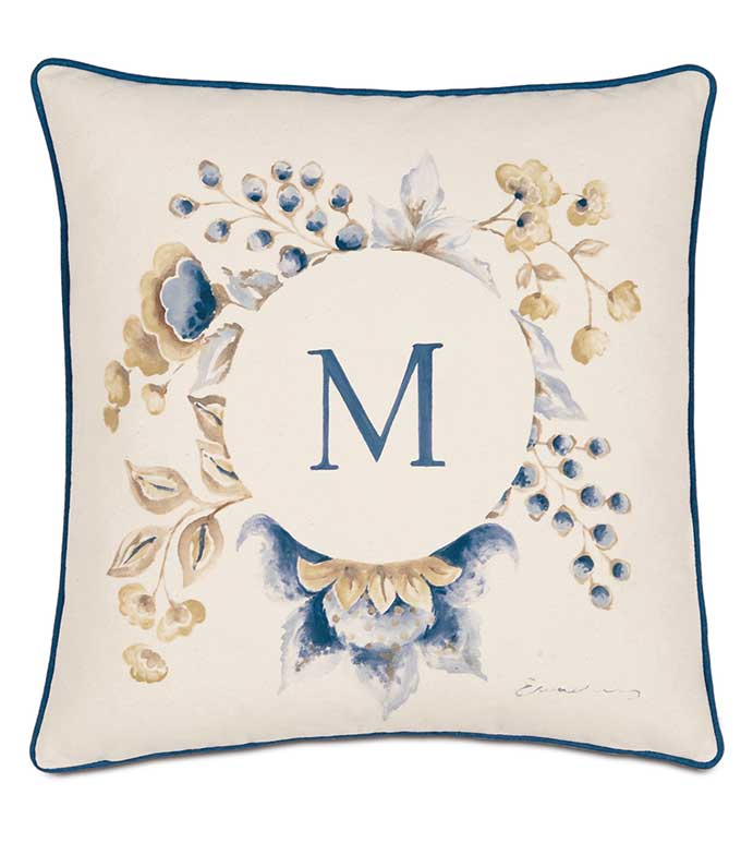 Hand-Painted Monogram - HAND PAINTED PILLOW,PAINTED MONOGRAM PILLOW,PAINTED INITIALS PILLOW,HAND PAINTED FLORAL PILLOW,BOTANICAL PILLOW,BLUE AND GOLD,BLUE AND YELLOW,BLUE AND TAN,PAINTED LETTER PILLOW