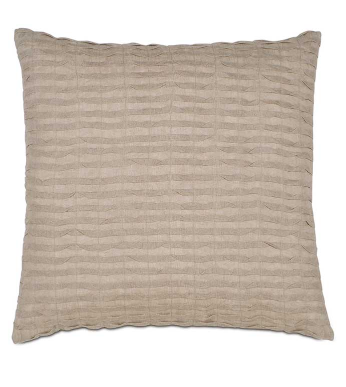 Yearling Flax Knife Edge - TAN TEXTURED PILLOW,TAN PLEATED PILLOW,BEIGE PLEATED PILLOW,RUCHED PILLOW,TAN RUCHED PILLOW,RUCHED LINEN PILLOW,SOLID LINEN,SOLID BEIGE,SQUARE LINEN PILLOW,EARTH TONE,NATURAL
