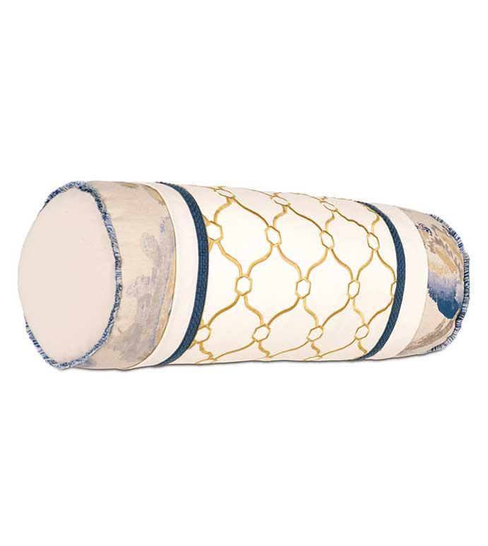 Theodore Honey Insert Bolster - YELLOW LATTICE PILLOW,YELLOW AND BLUE PILLOW,BLUE FLORAL PILLOW,YELLOW NECKROLL PILLOW,FLORAL NECKROLL PILLOW,WHITE AND YELLOW,BLUE AND YELLOW,BLUE AND TAN,BRUSH FRINGE,FRINGE TRIM