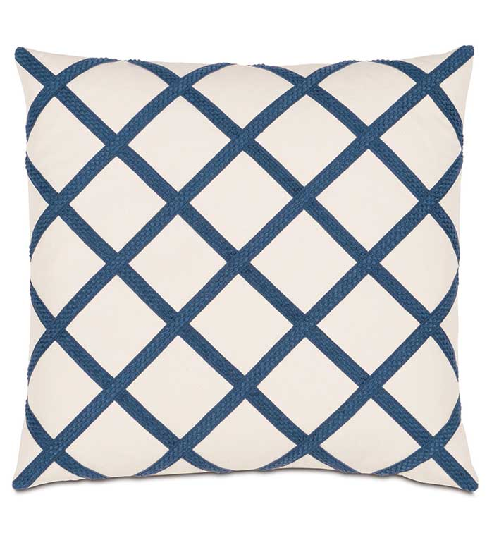 Adler Natural With Gimp - BLUE AND WHITE CHECKERED PILLOW,CHECKERED PILLOW,DIAMOND PILLOW,TRIM APPLIQUE,BLUE AND WHITE,WHITE AND BLUE,IVORY AND BLUE,CRISS CROSS,CONTEMPORARY,TRANSITIONAL,SQUARE,NAVY