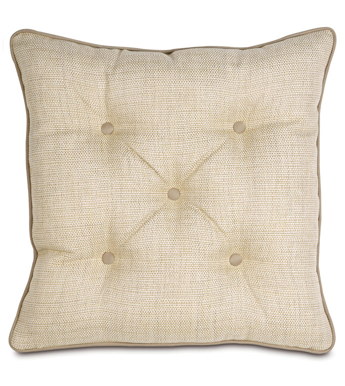 Gilmer Brulee Euro Sham - BUTTON TUFTED EURO SHAM,IVORY TUFTED EURO SHAM,DEEP TUFTED PILLOW,OVERSIZED TUFTED PILLOW,NEUTRAL,ELEGANT,CLASSIC,TRADITIONAL,NEUTRAL DECORATIVE SHAM,CREAM,IVORY,TAN,BEIGE,TAUPE