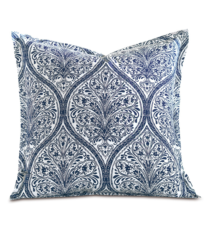 Adelle Percale Euro Sham In Marine - EURO SHAM,PILLOW,DECORATIVE PILLOW,BLUE,BRIGHT,COLORFUL,OGEE,MEDALLION,DAMASK,JACQUARD,EASTERN ACCENTS,PATTERNED,PRINT,LUXURY BEDDING,FINE LINENS,PERCALE,ITALIAN FINE LINENS,