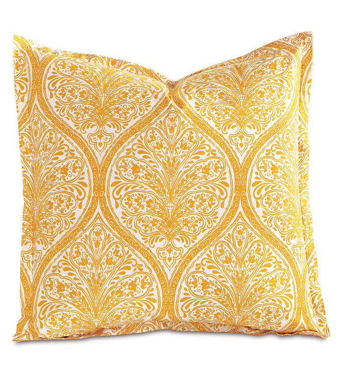 Adelle Percale Euro Sham In Saffron - EURO SHAM,PILLOW,DECORATIVE PILLOW,YELLOW,BRIGHT,COLORFUL,OGEE,MEDALLION,DAMASK,JACQUARD,EASTERN ACCENTS,PATTERNED,PRINT,LUXURY BEDDING,FINE LINENS,PERCALE,ITALIAN FINE LINENS,