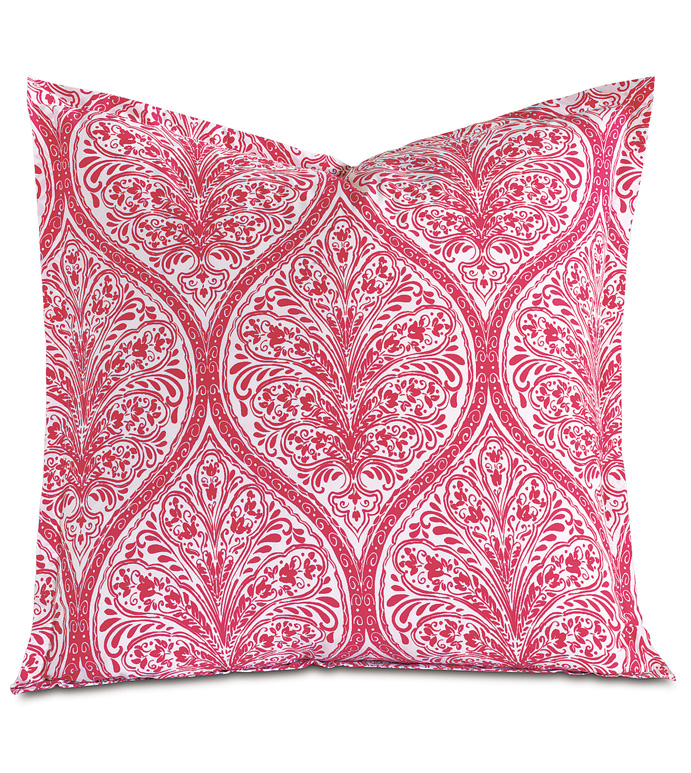 Adelle Percale Euro Sham In Sorbet - EURO SHAM,PILLOW,DECORATIVE PILLOW,PINK,BRIGHT,COLORFUL,OGEE,MEDALLION,DAMASK,JACQUARD,EASTERN ACCENTS,PATTERNED,PRINT,LUXURY BEDDING,FINE LINENS,PERCALE,ITALIAN FINE LINENS,