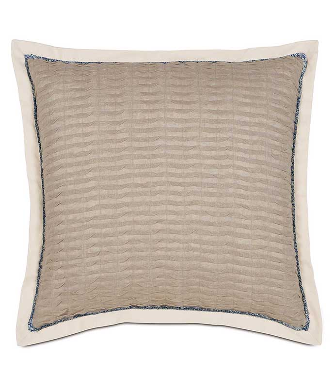 Yearling Flax Euro Sham - TAN TEXTURED EURO SHAM,TAN PLEATED PILLOW,BEIGE PLEATED PILLOW,RUCHED PILLOW,TAN RUCHED PILLOW,RUCHED LINEN PILLOW,SOLID LINEN,SOLID BEIGE,OVERSIZED LINEN PILLOW,BLUE AND TAN