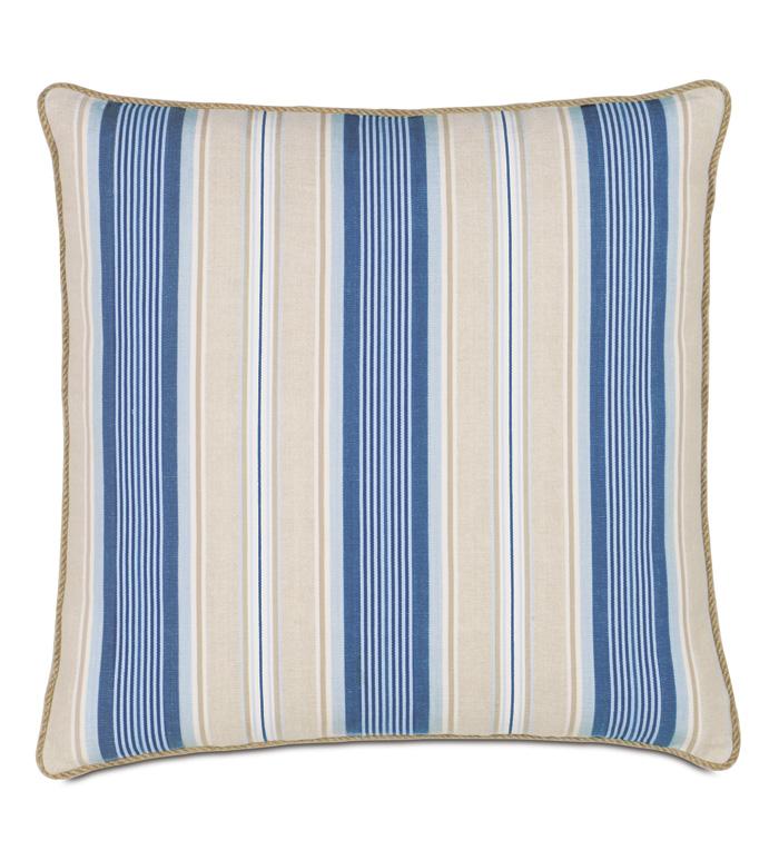 Maritime Stripe Euro Sham In Blue - ACCENT PILLOW,THROW PILLOW,EURO SHAM,EASTERN ACCENTS,BLUE,COTTON,STRIPE,CORD,
