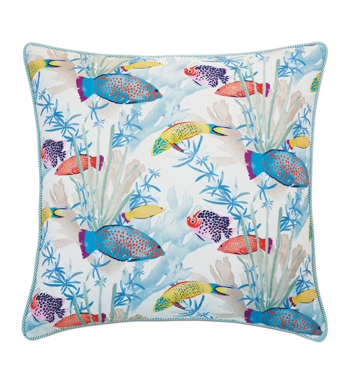 Paloma Tropical Euro Sham - ACCENT PILLOW,THROW PILLOW,EURO SHAM,EASTERN ACCENTS,MULTICOLORED,TROPICAL,100% COTTON,WELT,COTTON,LUXURY BEDDING,TROPICAL BEDDING,PRINT,PATTERN,