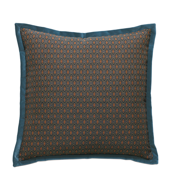 Rudy Ogee Euro Sham - ACCENT PILLOW,THROW PILLOW,EURO SHAM,EASTERN ACCENTS,MULTICOLORED,TRADITIONAL,WOVEN,OGEE,FLANGE,