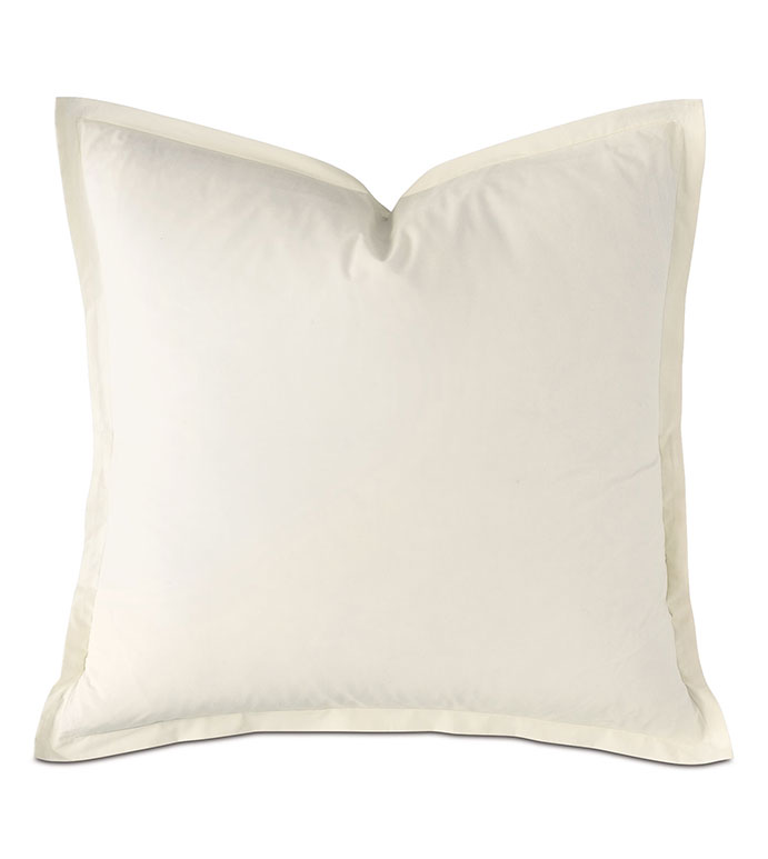 Vail Percale Euro Sham In Ivory - FLANGE,PERCALE,100% COTTON,EGYPTIAN COTTON,PERCALE COTTON,LUXURY,HIGH-END,HIGH-QUALITY,27X27,THROW PILLOW,ACCENT PILLOW,IVORY,CREAM,WHITE,NEUTRAL,BEIGE