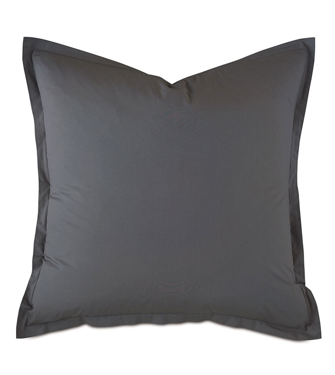 Vail Percale Euro Sham In Slate - FLANGE,PERCALE,100% COTTON,EGYPTIAN COTTON,PERCALE COTTON,LUXURY,HIGH-END,HIGH-QUALITY,27X27,THROW PILLOW,ACCENT PILLOW,DARK GRAY,GRAY,WARM GRAY,SLATE