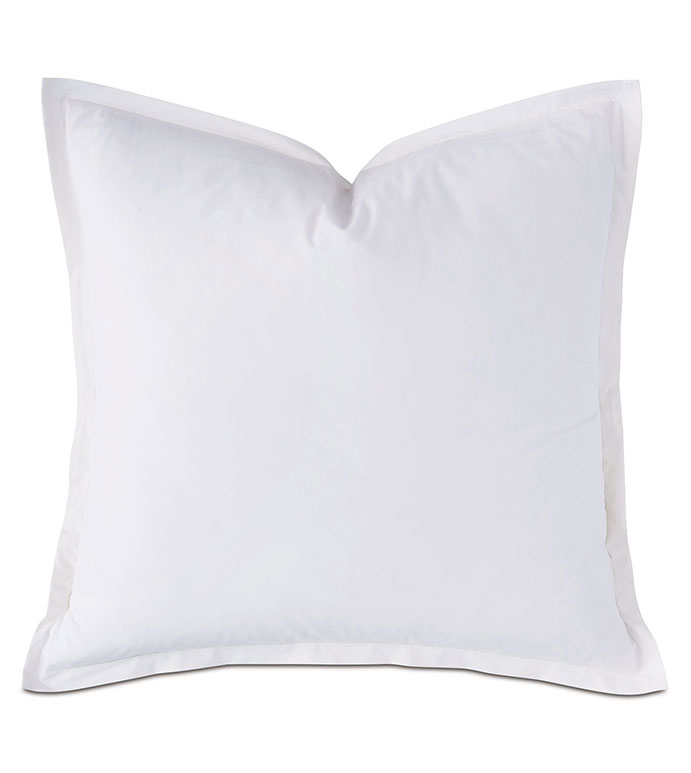 Vail Percale Euro Sham In White - FLANGE,PERCALE,100% COTTON,EGYPTIAN COTTON,PERCALE COTTON,LUXURY,HIGH-END,HIGH-QUALITY,27X27,THROW PILLOW,ACCENT PILLOW,WHITE,NEUTRAL