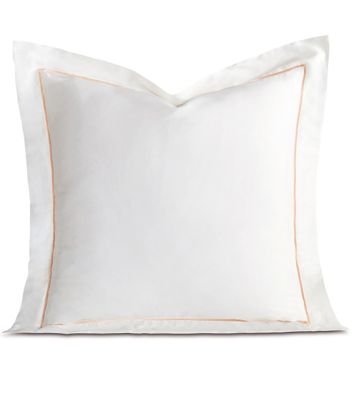Linea Velvet Ribbon Euro Sham In White & Nectar - ,