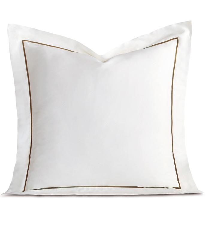 Linea Velvet Ribbon Euro Sham In White & Oliva - ,