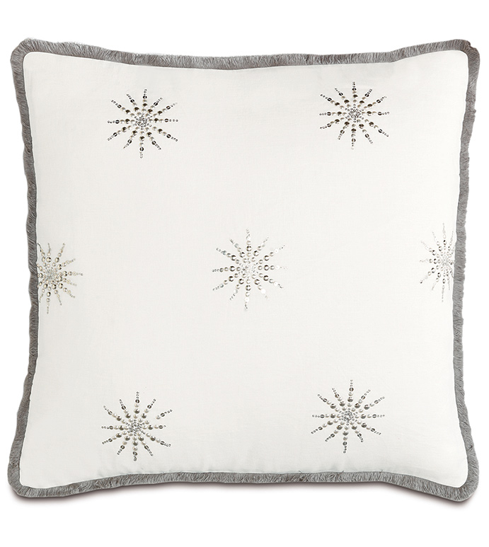 Esmi Silver With Brush Fringe - PILLOW,NEUTRAL,GREY,WHITE,SHINY,METALLIC,GLAM,GRAY,SILVER,PATTERNED,CONTEMPORARY,SEQUIN,BEDDING,LUXURY BEDDING,HOME DECOR,DECORATIVE PILLOW,FRINGE,STAR,BEDROOM,STARBURST,BEADED