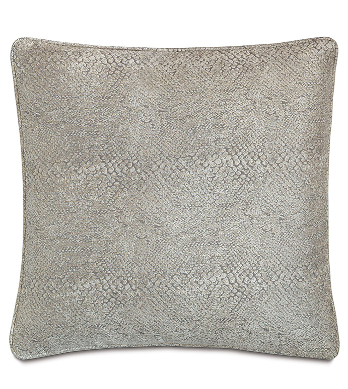 Ezra Smoke With Sm Welt - PILLOW,NEUTRAL,GREY,SHINY,METALLIC,GLAM,GRAY,SILVER,PATTERNED,CONTEMPORARY,BEDDING,LUXURY BEDDING,HOME DECOR,DECORATIVE PILLOW,WELT,BEDROOM,ANIMAL PRINT,SNAKESKIN,