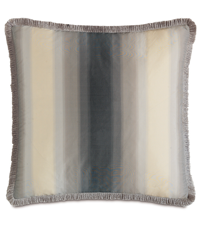 Soni Slate With Brush Fringe - PILLOW,NEUTRAL,GREY,CREAM,SHINY,METALLIC,GLAM,GRAY,SILVER,PATTERNED,CONTEMPORARY,SILK,BEDDING,LUXURY BEDDING,HOME DECOR,DECORATIVE PILLOW,FRINGE,OMBRE,BEDROOM,STRIPED,