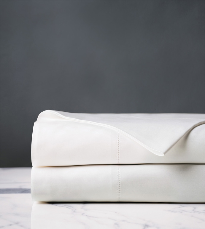 Gianna Hemstitch Flat Sheet in White - ,PERCALE FLAT SHEET,WHITE PERCALE FLAT SHEET,HEMSTITCHED SHEETS,HEMSTITCHED FLAT SHEET,WHITE COTTON FLAT SHEET,LUXURY FLAT SHEET,LUXURY PERCALE SHEETS,WHITE PERCALE SHEETS,