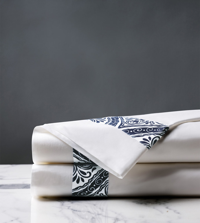 Adelle Percale Flat Sheet In Marine - 100% COTTON,EGYPTIAN COTTON,ITALIAN,FINE LINENS,LINENS,SHEETS,SHEETING,FLAT SHEET,DAMASK,DAMASK PATTERN,GREEN,TRADITIONAL,OGEE,BED LINENS,EASTERN ACCENTS,PERCALE,MADE IN AMERICA,