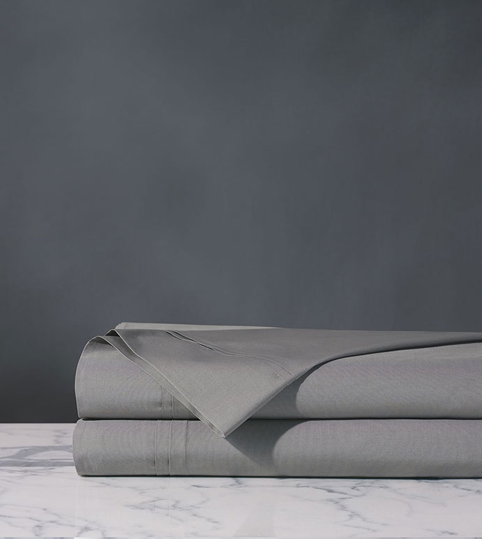 Vail Percale Flat Sheet In Heather - ,PERCALE FLAT SHEET,LUXURY FLAT SHEET,GRAY FLAT SHEET,COTTON PERCALE FLAT SHEET,PERCALE SHEETS,PERCALE FINE LINENS,CUSTOM FLAT SHEET,