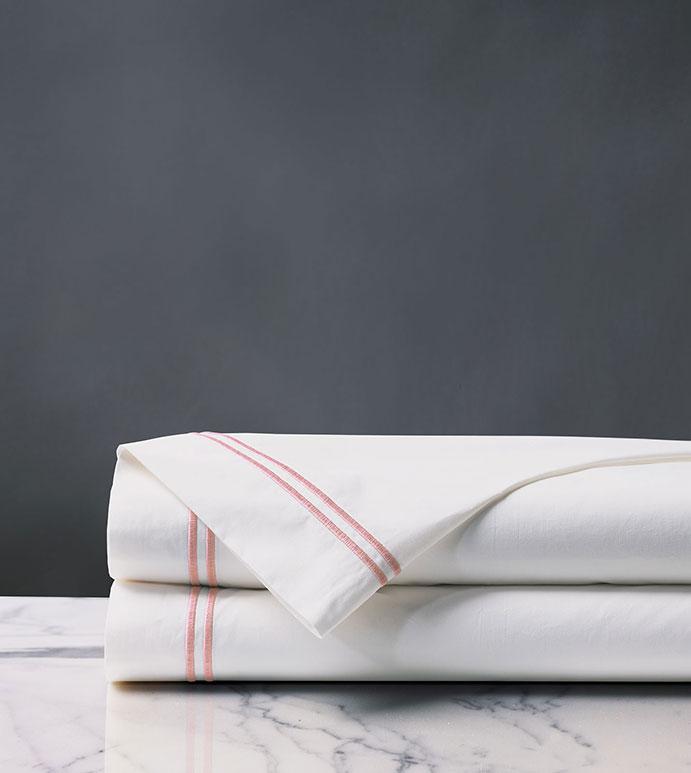 Enzo Satin Stitch Flat Sheet in Bloom - ,WHITE PERCALE FLAT SHEET,SATIN STITCH FLAT SHEET,BLACK SATIN STITCH FLAT SHEET,WHITE COTTON PERCALE FLAT SHEET,WHITE AND BLACK FLAT SHEET,PERCALE FINE LINENS,