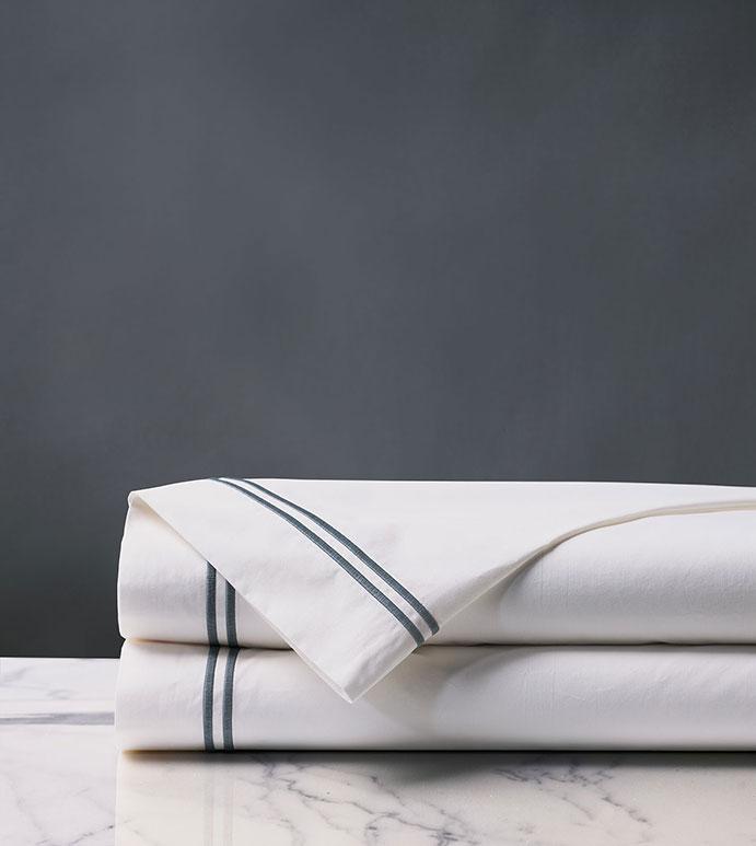 Enzo Satin Stitch Flat Sheet in Slate - ,Egyptian cotton,percale sheets,flat sheet,luxury flat sheet,satin stitch,fine linens,luxury sheets,sheet set,luxury linens,bedding, bedding basics, sheets, luxury bedding,