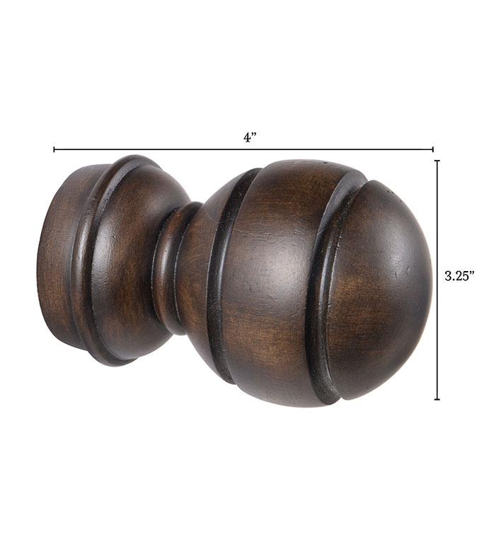 Legna Walnut Sphere Finial Pair